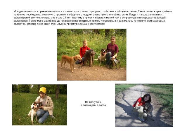 Моя деятельность в приюте начиналась с самого простого – с прогулок с собаками и общения с ними. Такая помощь приюту была наиболее необходима, потому что прогулки и общение с людьми очень нужны его обитателям. Когда я начала заниматься волонтёрской …