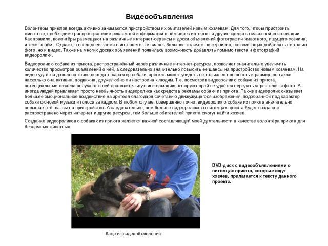 Видеообъявления Волонтёры приютов всегда активно занимаются пристройством их обитателей новым хозяевам. Для того, чтобы пристроить животное, необходимо распространение рекламной информации о нём через интернет и другие средства массовой информации. …