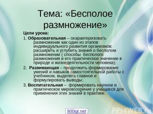 Тема: «Бесполое размножение» Цели урока: 1. Образовательная – охарактеризовать р