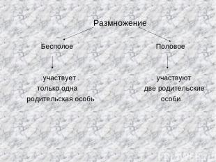 Размножение Бесполое Половое участвует участвуют только одна две родительские ро