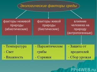 Экологические факторы среды факторы неживой природы (абиотические) факторы живой