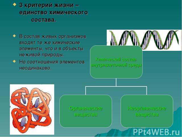 3 критерий жизни – единство химического состава. В состав живых организмов входят те же химические элементы, что и в объекты неживой природы. Но соотношения элементов неодинаково.