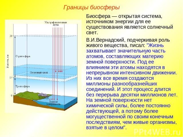 Границы биосферы Биосфера — открытая система, источником энергии для ее существования является солнечный свет. В.И.Вернадский, подчеркивая роль живого вещества, писал: