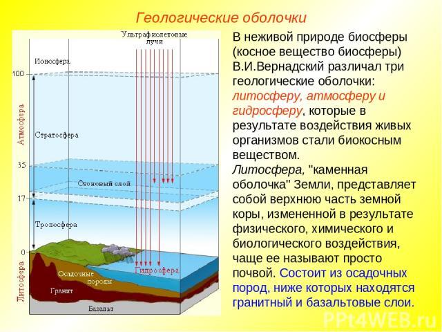 Геологические оболочки В неживой природе биосферы (косное вещество биосферы) В.И.Вернадский различал три геологические оболочки: литосферу, атмосферу и гидросферу, которые в результате воздействия живых организмов стали биокосным веществом. Литосфер…