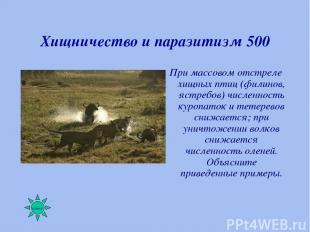 Хищничество и паразитизм 500 При массовом отстреле хищных птиц (филинов, ястребо