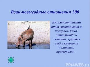 Взаимовыгодные отношения 300 Взаимоотношения птиц-чистильщиц и носорога, рака-от
