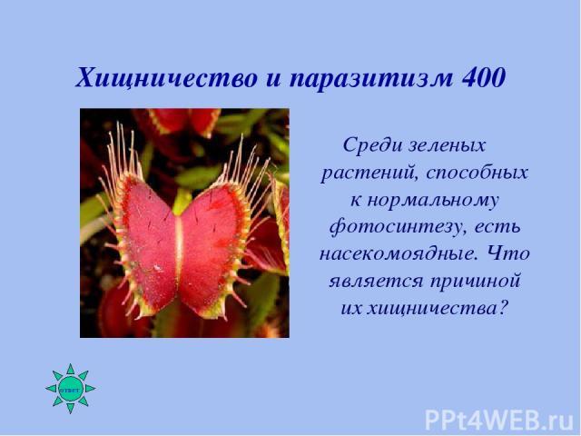 Хищничество и паразитизм 400 Среди зеленых растений, способных к нормальному фотосинтезу, есть насекомоядные. Что является причиной их хищничества?