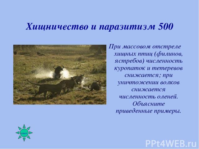 Хищничество и паразитизм 500 При массовом отстреле хищных птиц (филинов, ястребов) численность куропаток и тетеревов снижается; при уничтожении волков снижается численность оленей. Объясните приведенные примеры.