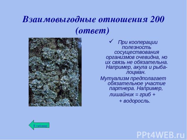 Взаимовыгодные отношения 200 (ответ) При кооперации полезность сосуществования организмов очевидна, но их связь не обязательна. Например, акула и рыба-лоцман. Мутуализм предполагает обязательное участие партнера. Например, лишайник = гриб + + водоросль.