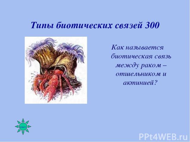 Типы биотических связей 300 Как называется биотическая связь между раком – отшельником и актинией?