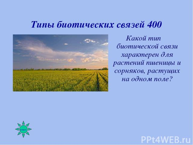 Типы биотических связей 400 Какой тип биотической связи характерен для растений пшеницы и сорняков, растущих на одном поле?
