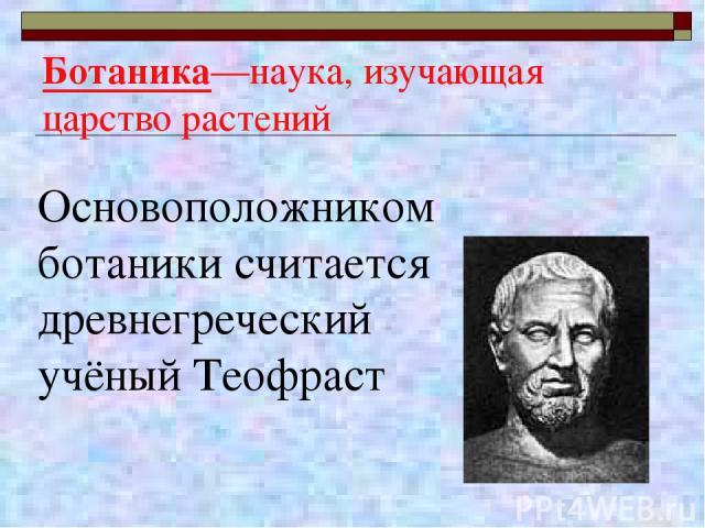 Ботаника—наука, изучающая царство растений Основоположником ботаники считается древнегреческий учёный Теофраст