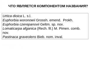 ЧТО ЯВЛЯЕТСЯ КОМПОНЕНТОМ НАЗВАНИЯ? Urtica dioica L. s.l. Euphorbia woronowii Gro