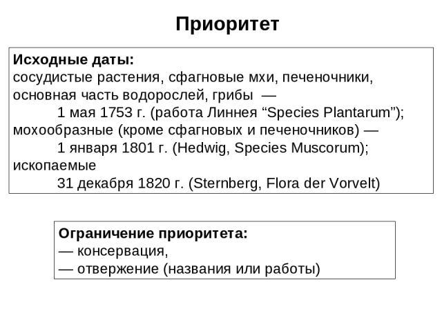 """Исходные даты: сосудистые растения, сфагновые мхи, печеночники, основная часть водорослей, грибы — 1 мая 1753 г. (работа Линнея """"Species Plantarum""""); мохообразные (кроме сфагновых и печеночников) — 1 января 1801 г. (Hedwig, Species Muscorum); ископа…"""