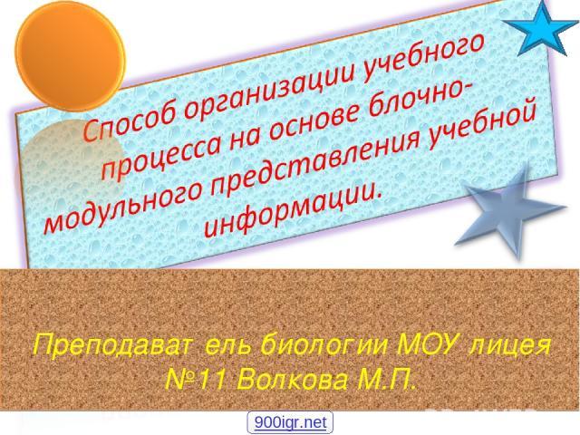 Преподаватель биологии МОУ лицея №11 Волкова М.П. 900igr.net