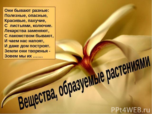 Они бывают разные: Полезные, опасные, Красивые, пахучие, С листьями, колючие. Лекарства заменяют, С лакомством бывают, И чаем нас напоят, И даже дом построят. Земли они творенья - Зовем мы их …….