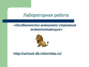 Лабораторная работа «Особенности внешнего строения млекопитающих» http://school-