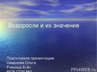Водоросли и их значение Подготовила презентацию Смирнова Ольга Ученица 6»А» МОУ