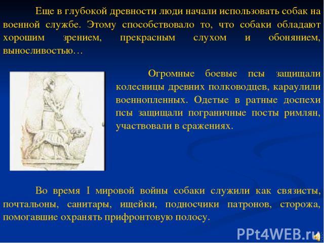 Еще в глубокой древности люди начали использовать собак на военной службе. Этому способствовало то, что собаки обладают хорошим зрением, прекрасным слухом и обонянием, выносливостью… Огромные боевые псы защищали колесницы древних полководцев, караул…
