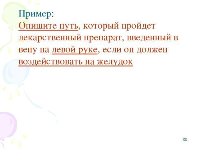 * Пример: Опишите путь, который пройдет лекарственный препарат, введенный в вену на левой руке, если он должен воздействовать на желудок