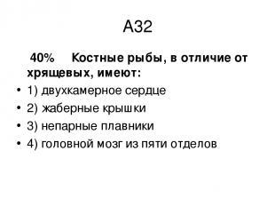 А32 40% Костные рыбы, в отличие от хрящевых, имеют: 1) двухкамерное сердце 2) жа