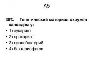 А5 38% Генетический материал окружен капсидом у: 1) эукариот 2) прокариот 3) циа