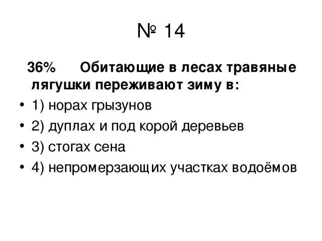 № 14 36% Обитающие в лесах травяные лягушки переживают зиму в: 1) норах грызунов 2) дуплах и под корой деревьев 3) стогах сена 4) непромерзающих участках водоёмов
