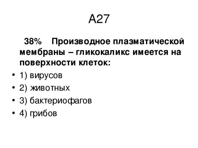 А27 38% Производное плазматической мембраны – гликокаликс имеется на поверхности клеток: 1) вирусов 2) животных 3) бактериофагов 4) грибов
