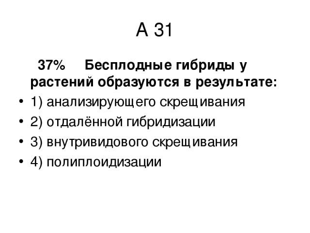 А 31 37% Бесплодные гибриды у растений образуются в результате: 1) анализирующего скрещивания 2) отдалённой гибридизации 3) внутривидового скрещивания 4) полиплоидизации