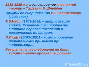 1838-1839 г.г. возникновение клеточной теории – Т.Шванн, М.Шлейден Опыты по гибр