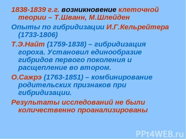 1838-1839 г.г. возникновение клеточной теории – Т.Шванн, М.Шлейден Опыты по гибридизации И.Г.Кельрейтера (1733-1806) Т.Э.Найт (1759-1838) – гибридизация гороха. Установил единообразие гибридов первого поколения и расщепление во втором. О.Сажрэ (1763…