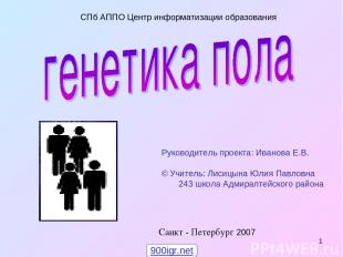 * Санкт - Петербург 2007 СПб АППО Центр информатизации образования Руководитель