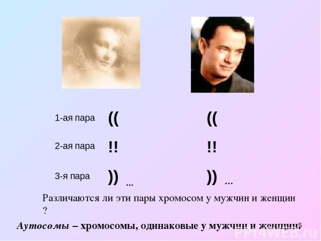* 1-ая пара (( !! )) 2-ая пара 3-я пара … (( !! )) … Различаются ли эти пары хромосом у мужчин и женщин ? Аутосомы – хромосомы, одинаковые у мужчин и женщин.