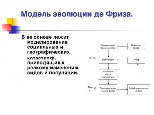 Модель эволюции де Фриза. В ее основе лежит моделирование социальных и географич