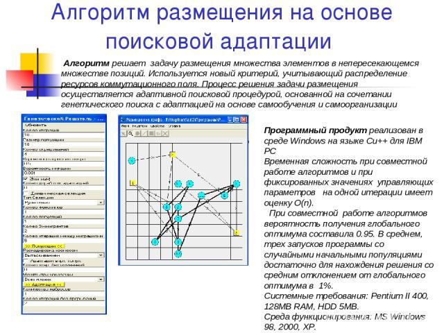 Алгоритм размещения на основе поисковой адаптации Алгоритм решает задачу размещения множества элементов в непересекающемся множестве позиций. Используется новый критерий, учитывающий распределение ресурсов коммутационного поля. Процесс решения задач…