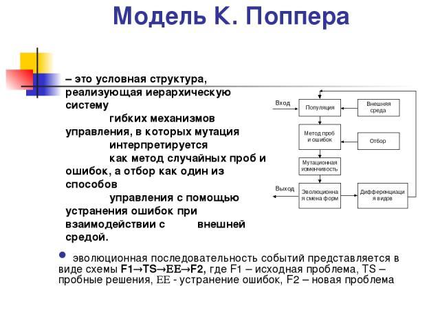 Модель К. Поппера эволюционная последовательность событий представляется в виде схемы F1 TS F2, где F1 – исходная проблема, TS – пробные решения, - устранение ошибок, F2 – новая проблема – это условная структура, реализующая иерархическую систему ги…