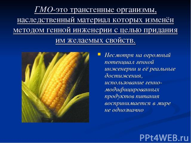 ГМО-это трансгенные организмы, наследственный материал которых изменён методом генной инженерии с целью придания им желаемых свойств. Несмотря на огромный потенциал генной инженерии и её реальные достижения, использование генно-модифицированных прод…