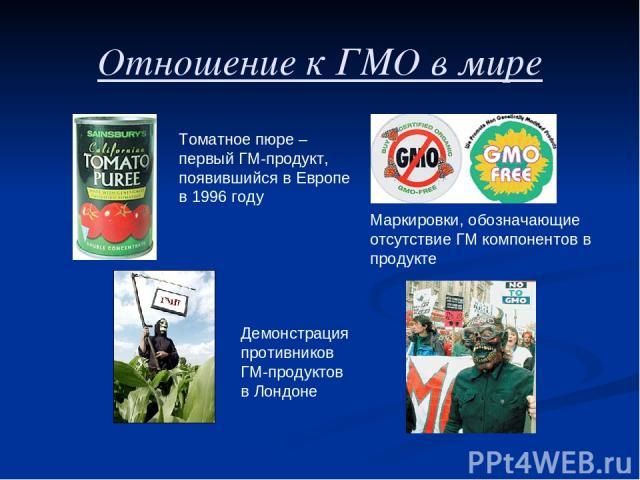 Отношение к ГМО в мире Томатное пюре – первый ГМ-продукт, появившийся в Европе в 1996 году Демонстрация противников ГМ-продуктов в Лондоне Маркировки, обозначающие отсутствие ГМ компонентов в продукте