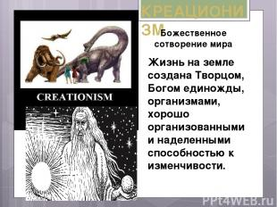 КРЕАЦИОНИЗМ Жизнь на земле создана Творцом, Богом единожды, организмами, хорошо