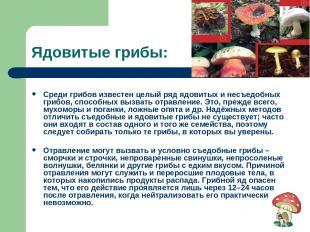 Ядовитые грибы: Среди грибов известен целый ряд ядовитых и несъедобных грибов, с