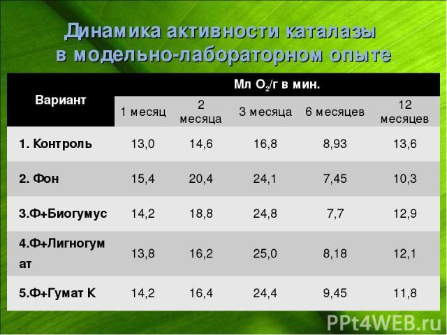 Динамика активности каталазы в модельно-лабораторном опыте Вариант Мл О2/г в мин. 1 месяц 2 месяца 3 месяца 6 месяцев 12 месяцев 1. Контроль 13,0 14,6 16,8 8,93 13,6 2. Фон 15,4 20,4 24,1 7,45 10,3 3.Ф+Биогумус 14,2 18,8 24,8 7,7 12,9 4.Ф+Лигногумат…