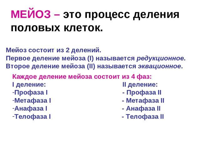 МЕЙОЗ – это процесс деления половых клеток. Мейоз состоит из 2 делений. Первое деление мейоза (I) называется редукционное. Второе деление мейоза (II) называется эквационное. Каждое деление мейоза состоит из 4 фаз: I деление: II деление: Профаза I - …