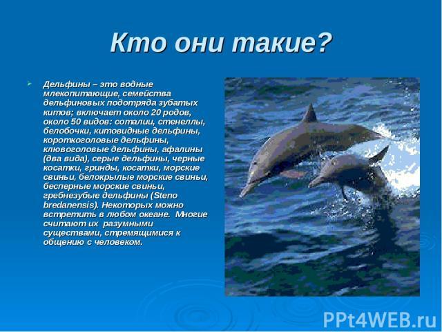 Кто они такие? Дельфины – это водные млекопитающие, семейства дельфиновых подотряда зубатых китов; включает около 20 родов, около 50 видов: соталии, стенеллы, белобочки, китовидные дельфины, короткоголовые дельфины, клювоголовые дельфины, афалины (д…