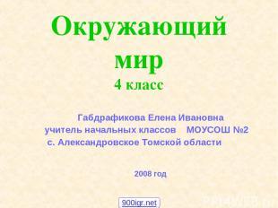 Окружающий мир 4 класс Габдрафикова Елена Ивановна учитель начальных классов МОУ
