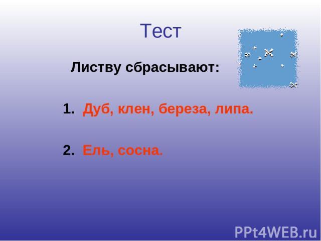 Тест Листву сбрасывают: 1. Дуб, клен, береза, липа. 2. Ель, сосна.