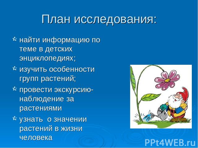 План исследования: найти информацию по теме в детских энциклопедиях; изучить особенности групп растений; провести экскурсию-наблюдение за растениями узнать о значении растений в жизни человека