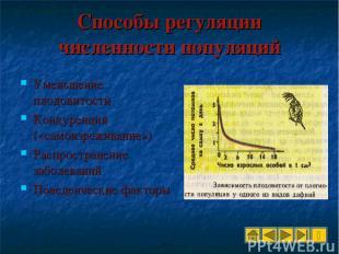 Способы регуляции численности популяций Уменьшение плодовитости Конкуренция («са