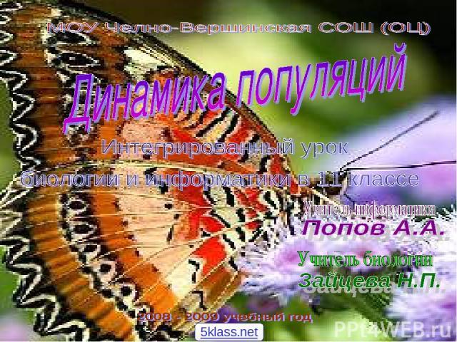 Интегрированный урок биологии - информатики «Динамика биологических популяций» «Математическое моделирование. Биологические модели развития популяций» Учитель биологии Учитель информатики 5klass.net