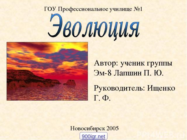 ГОУ Профессиональное училище №1 Новосибирск 2005 Автор: ученик группы Эм-8 Лапшин П. Ю. Руководитель: Ищенко Г. Ф. 900igr.net