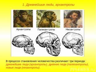 1. Древнейшие люди, архантропы В процессе становления человечества различают три